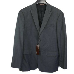 Perry Ellis Mens Charcoal Blue Pinstripe Suit Jack